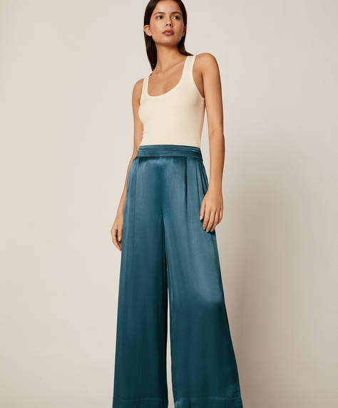 Satin-finish palazzo trousers