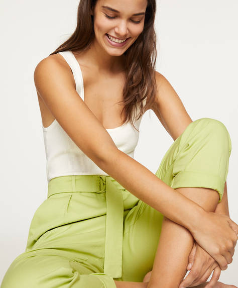 Wide organic cotton trousers