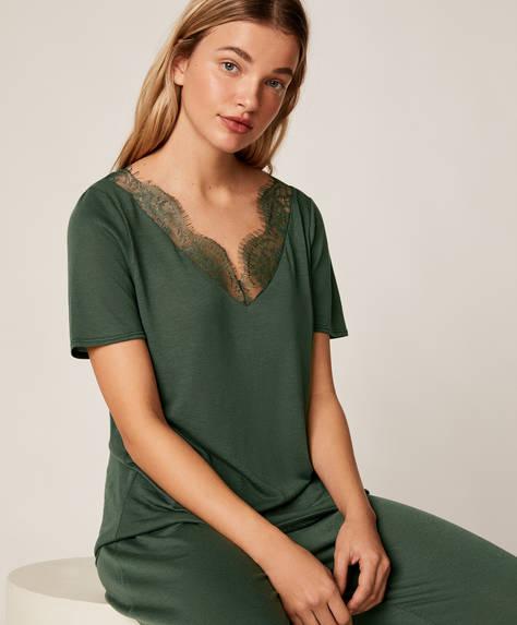 Κοντομάνικη πράσινη μπλούζα με δαντέλα