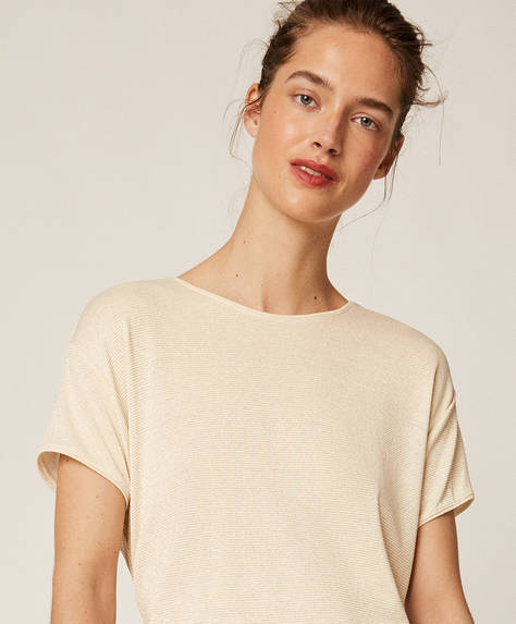 Metallic thread short-sleeved T-shirt