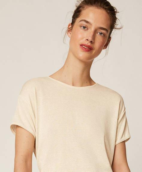 T-shirt court avec fil métallisé