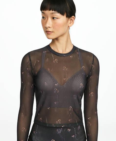 T-shirt transparent à imprimé floral
