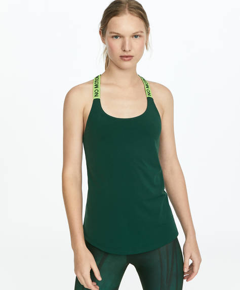 Green vest top with inner bra