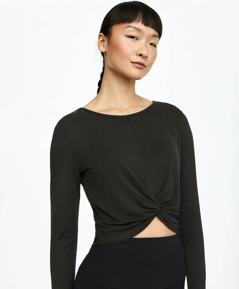 Front pleat modal T-shirt