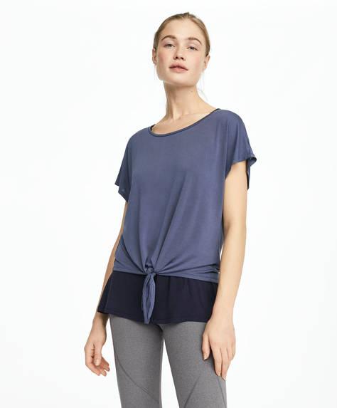 Dobbelt T-shirt i modal med knude