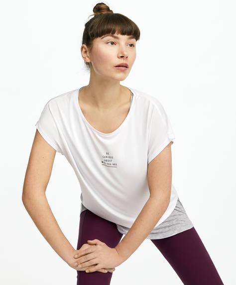 T-shirt à double épaisseur avec nœud au dos et inscription