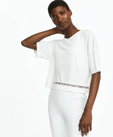 Cropped T-shirt with flocked slogan