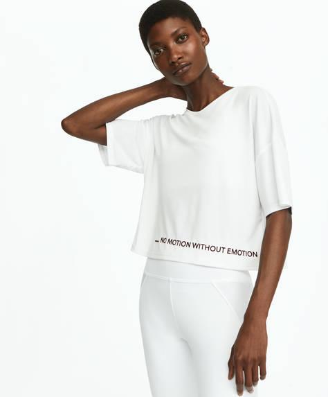 Camiseta crop mensaje flock