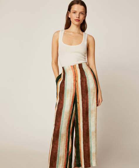 Vertical stripe trousers