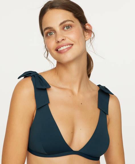 Bow detail halterneck bikini top