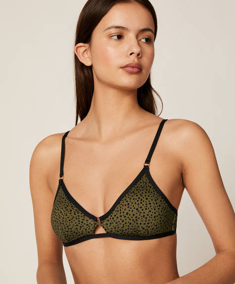Triangle bikini top with khaki spots