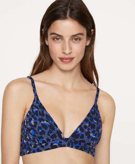Jacquard triangle bikini top