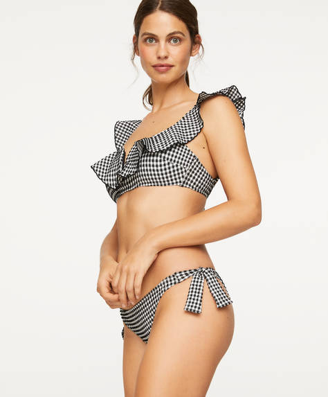 Gingham Brazilian bikini briefs