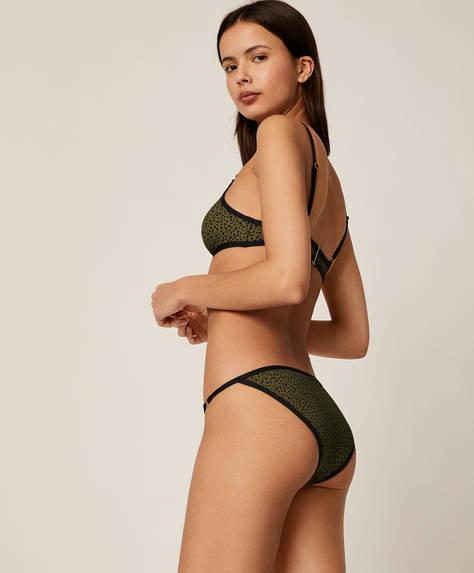 Slip bikini classici macchioline kaki