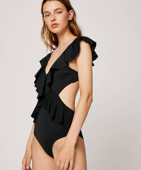 Black ruffled crossover trikini swimsuit