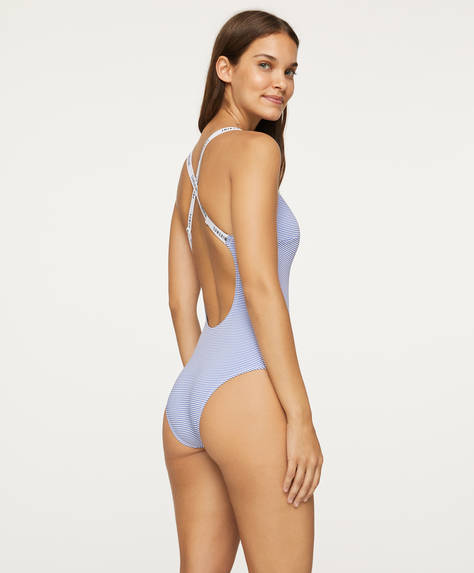 Seersucker swimsuit with elastic