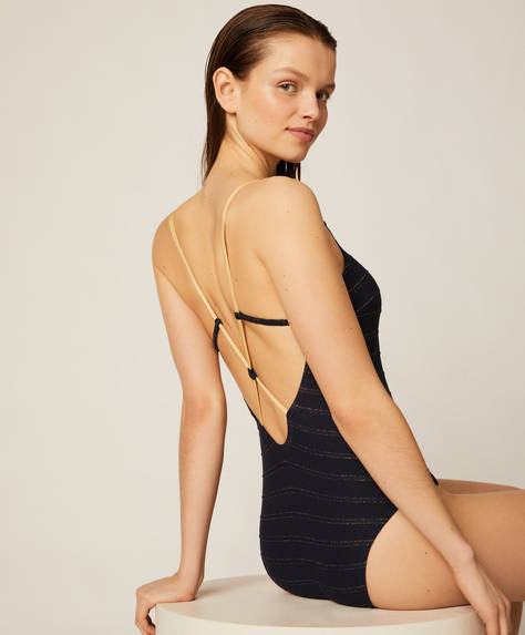 Navy triangle swimsuit