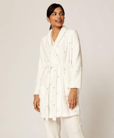 White bath robe with hearts