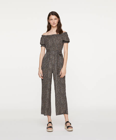 Off-Shoulder-Overall mit Paisley-Print