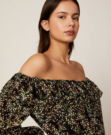 Off-shoulder floral blouse