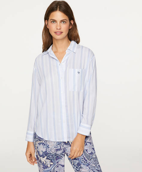 Shirt with blue stripes