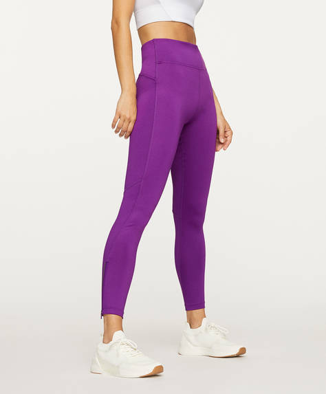 Leggings tinta unita con zip