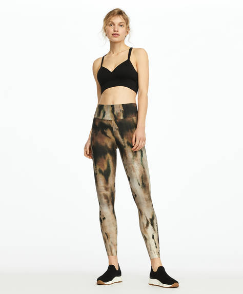 Leggings de compressão com estampado paleo