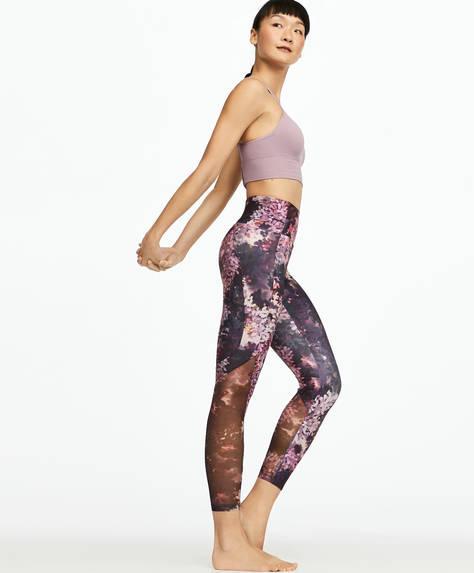 Floral print mesh leggings