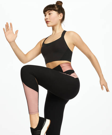 Shiny block compression leggings