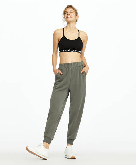 Green soft-touch joggers