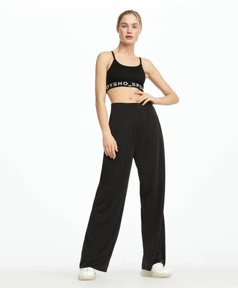 Yumuşak dokulu siyah bol pantolon
