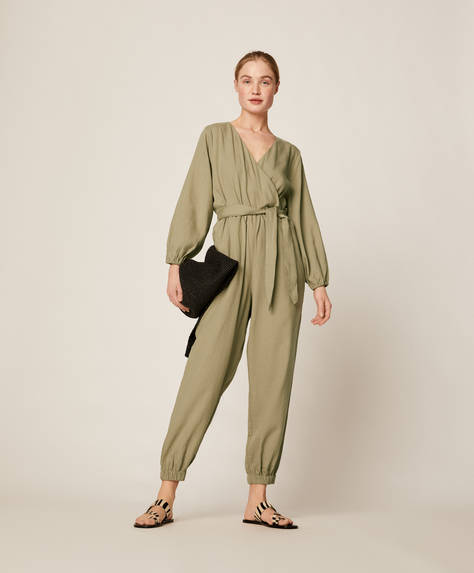 Knotted crossover jumpsuit