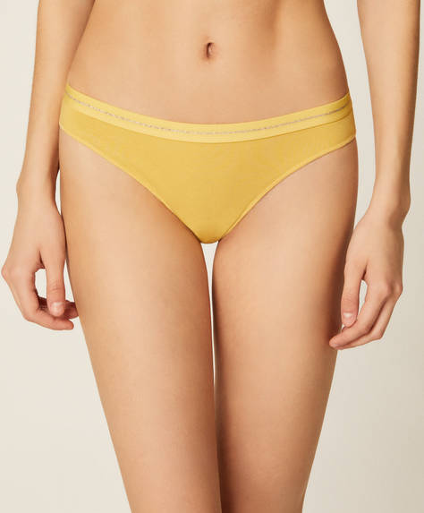 3 yellow floral Brazilian briefs