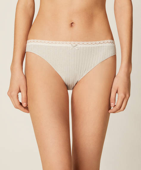 3 mauve mesh knit Brazilian briefs