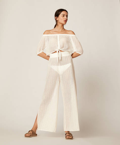 Wide-leg crochet trousers
