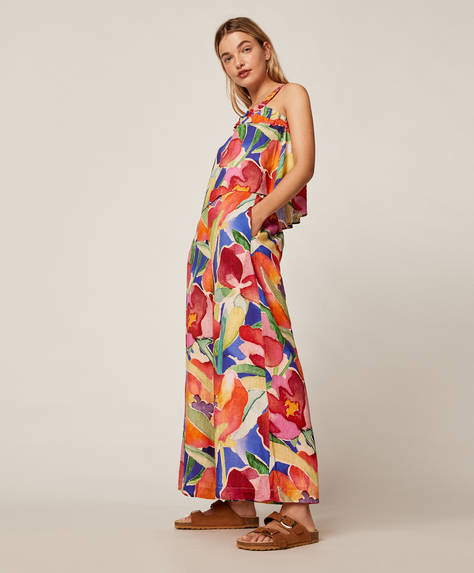 Trousers with maxi flower print