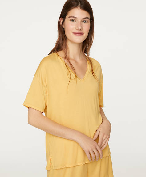 T-shirt au toucher doux jaune