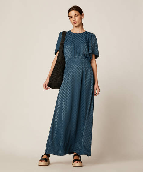 Jacquard polka dot dress