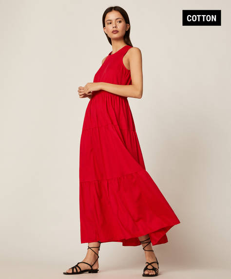 Long ruffled cotton dress