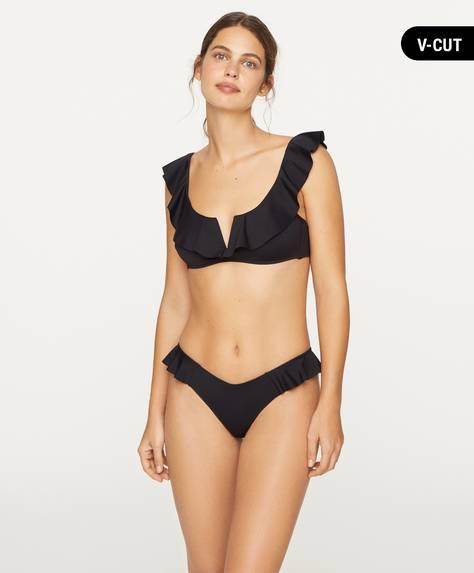 Slip bikini alla brasiliana con volant