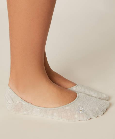 Pack de três pares de meias soquetes com estampado de margaridas