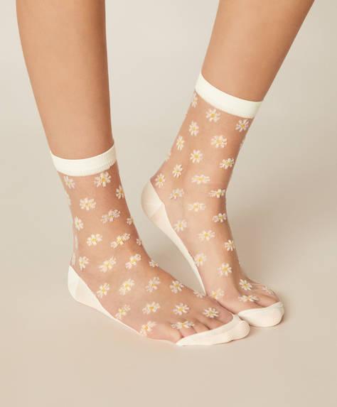 1 par de meias com padrão de margaridas