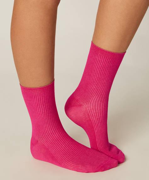 1 paar basic geribbelde sokken