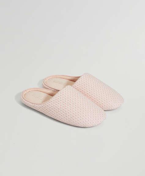 Zapatilla básica trama rosa