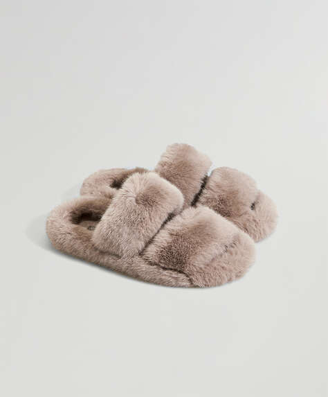 Mink-coloured faux fur double strap slippers