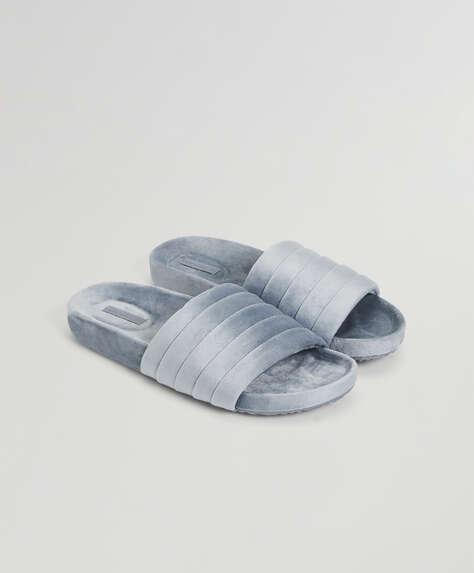 Chaussons plissés en velours