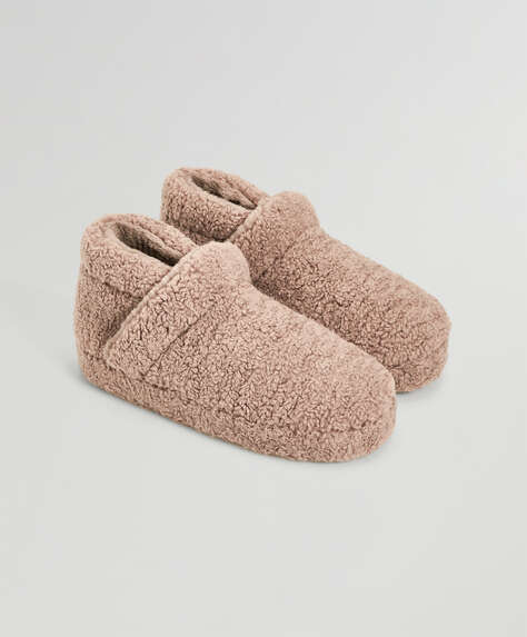 Rosette faux-shearling boots