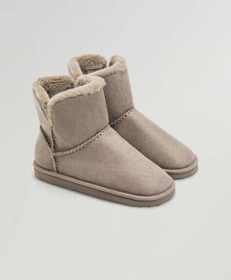 Faux fur inner slipper boots