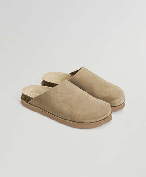 Sand split leather mules