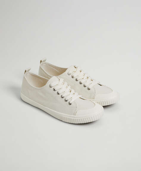 Toe detail canvas trainers
